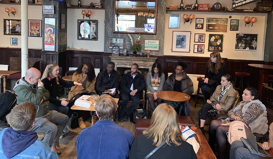 journalism students and lecturers inside the Boogaloo pub, Highgate.