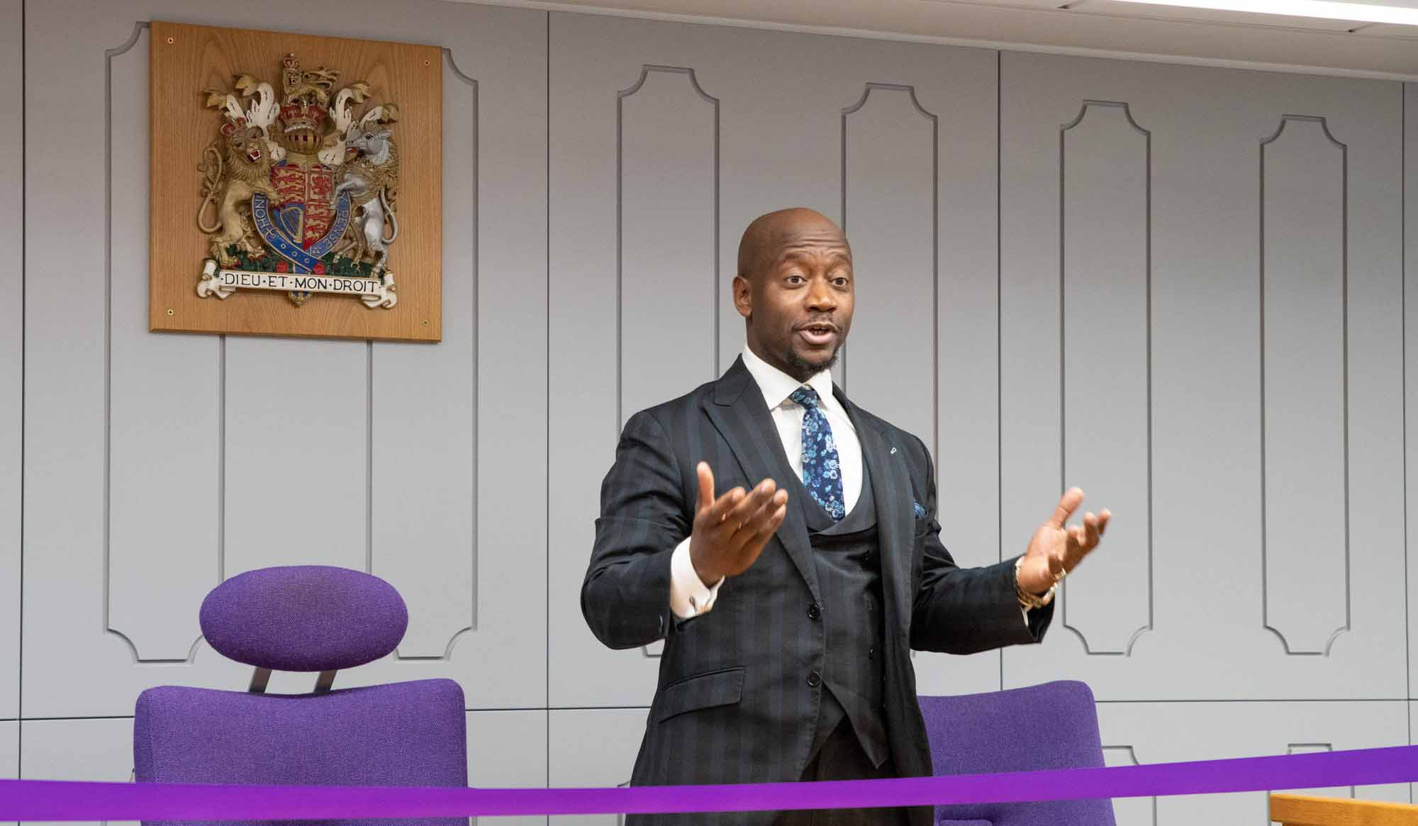 Dr Tunde Okewale opening the Mock Courtroom at London Met