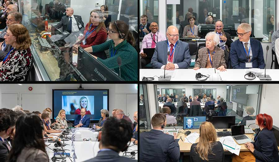 A collage of pictures from the opening of the interpreting suite at London Met