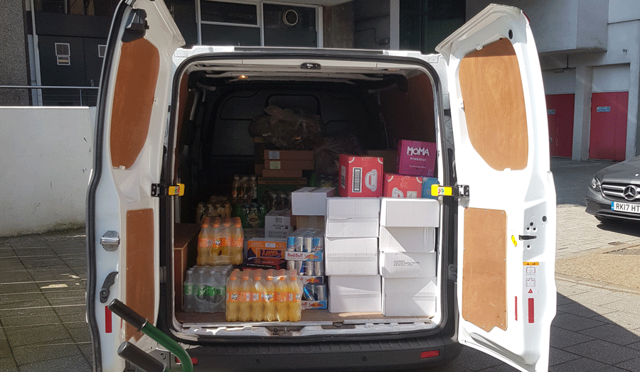 Food stocks in a van