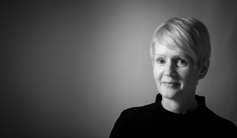 Black and white portrait of Dr Karen McNally