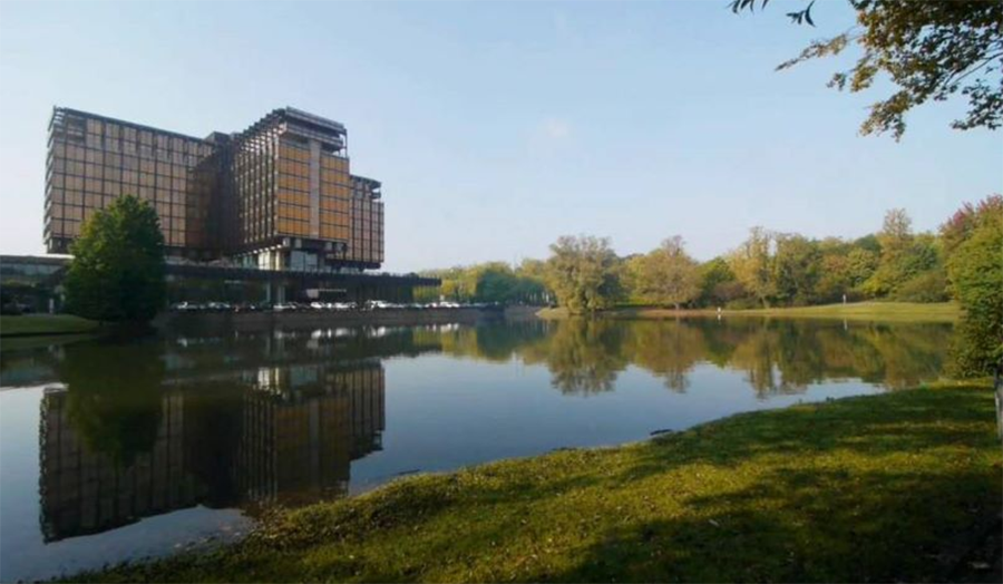 A photograph of the Royale Belge building, Brussels, from across a lake