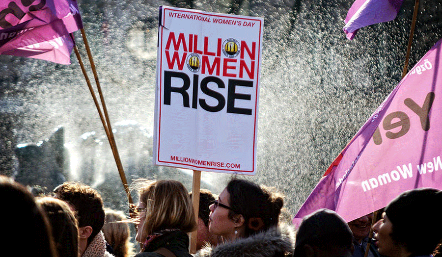 Sign from Million Women Rise march