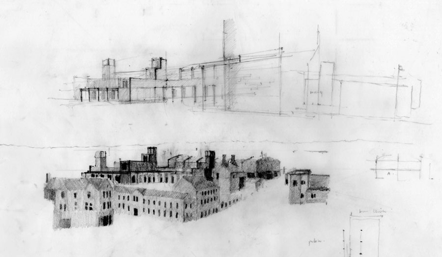 Drawings of an industrial building