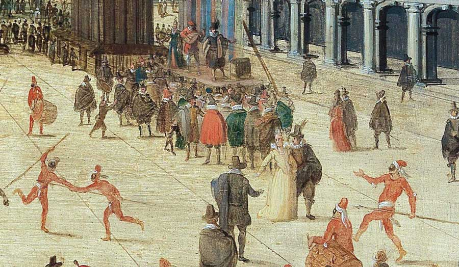 Medieval painting of an urban scene in Venice