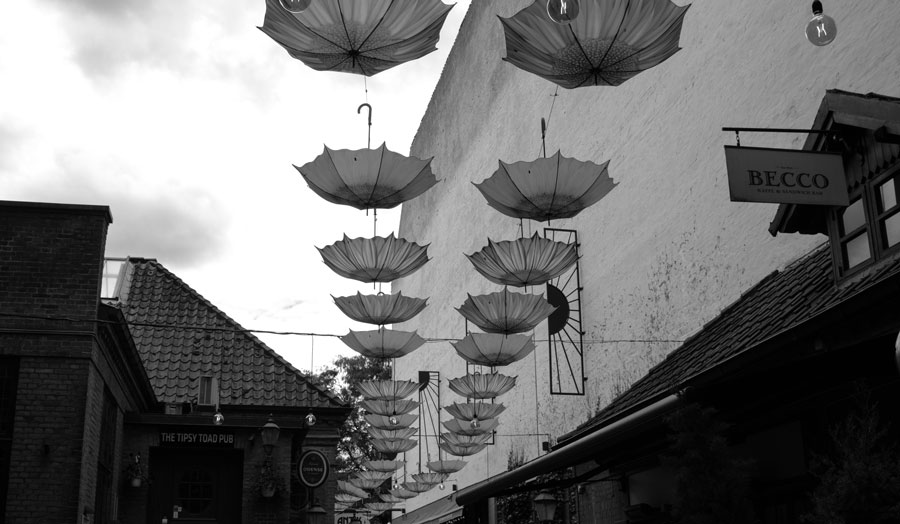 umbrellas hanging upside down