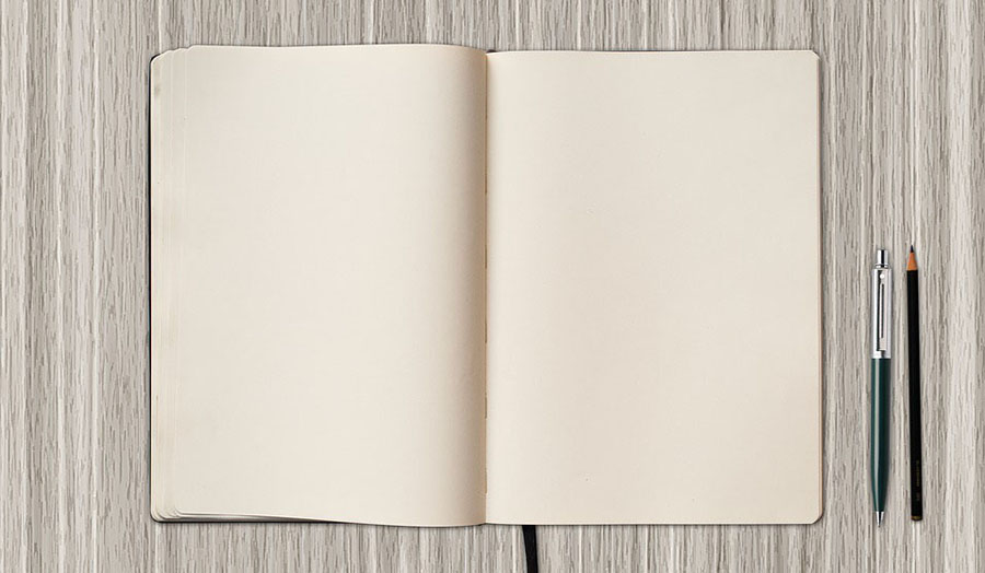 Image of an open blank book