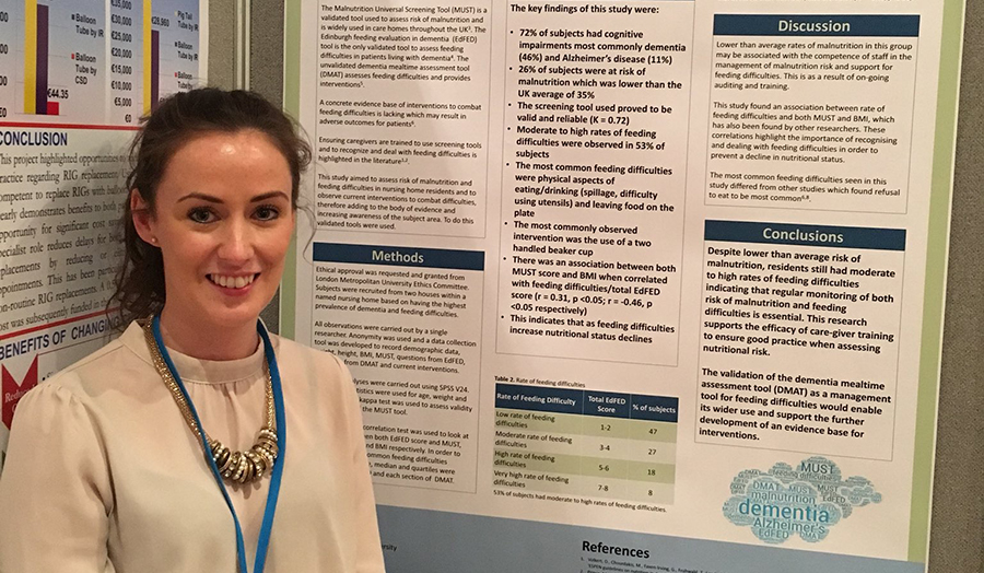 Keira Hall, a London Met 2017 graduate, presented her dissertation findings on feeding difficulties and malnutrition at a high profile national conference.
