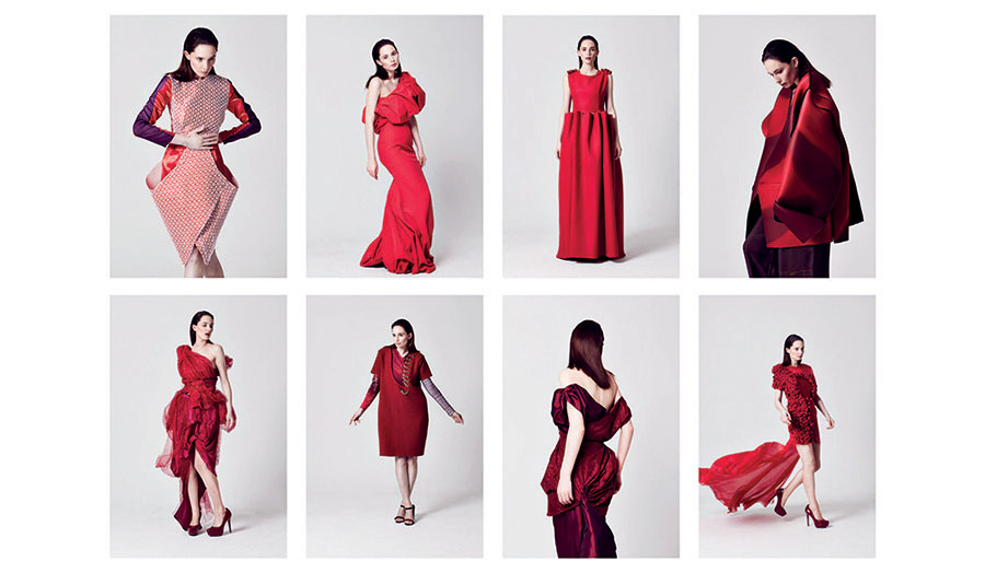 Eight looks created by BA Fashion Design students, February 2015