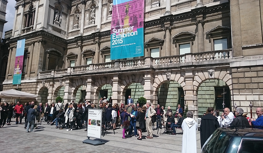 Artists and guests outside burlington house