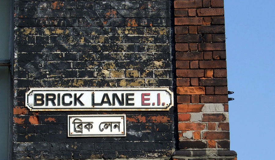 Shot of Brick Lane signpost