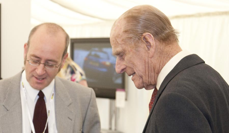 HRH Prince Philip chats with Cass alumnus Julian Walker