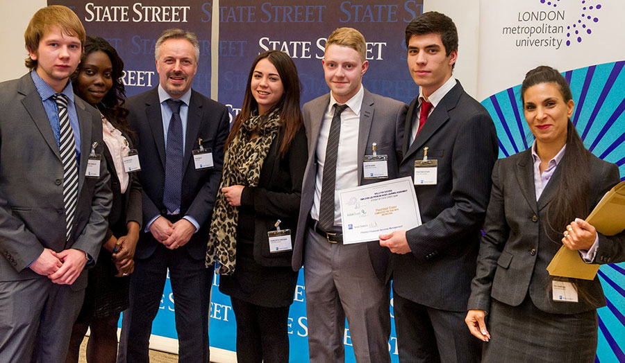 The winning team of students who participated in the presentation event at State Street
