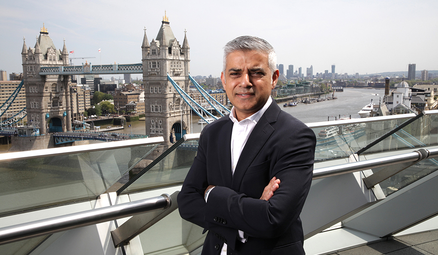 Profile image of Sadiq Khan in front of Tower Bridge