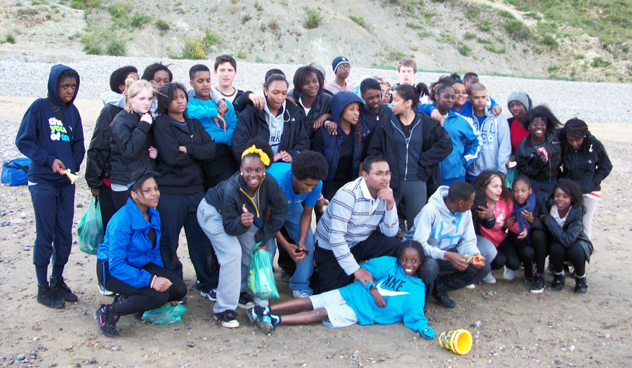 Upward Bound students on beach