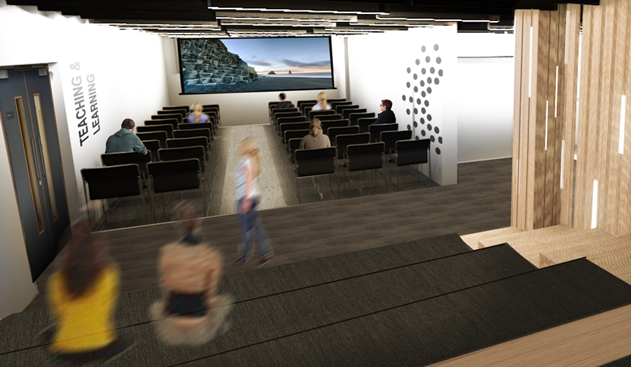 An artist's impression showing a contemporary lecture space with stepped seating and large screen