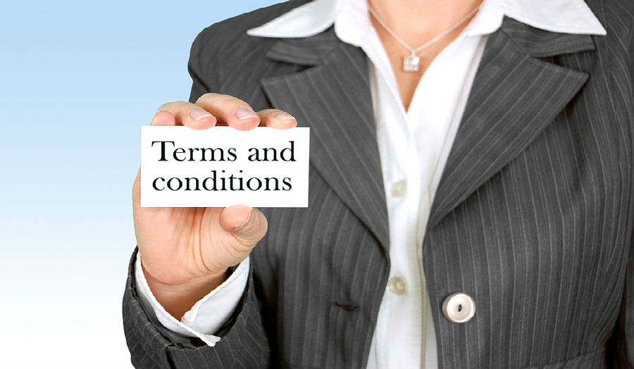 Picture depicting terms and conditions of contract