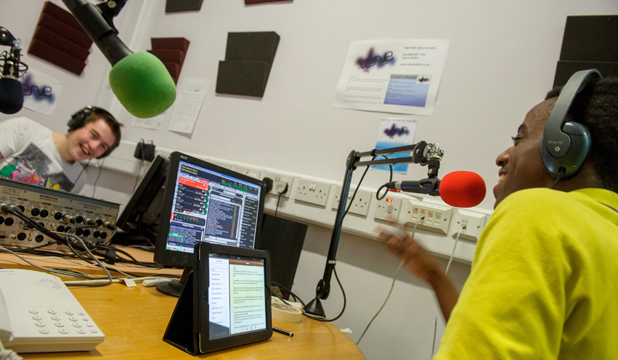 Students live on air at Verve radio station