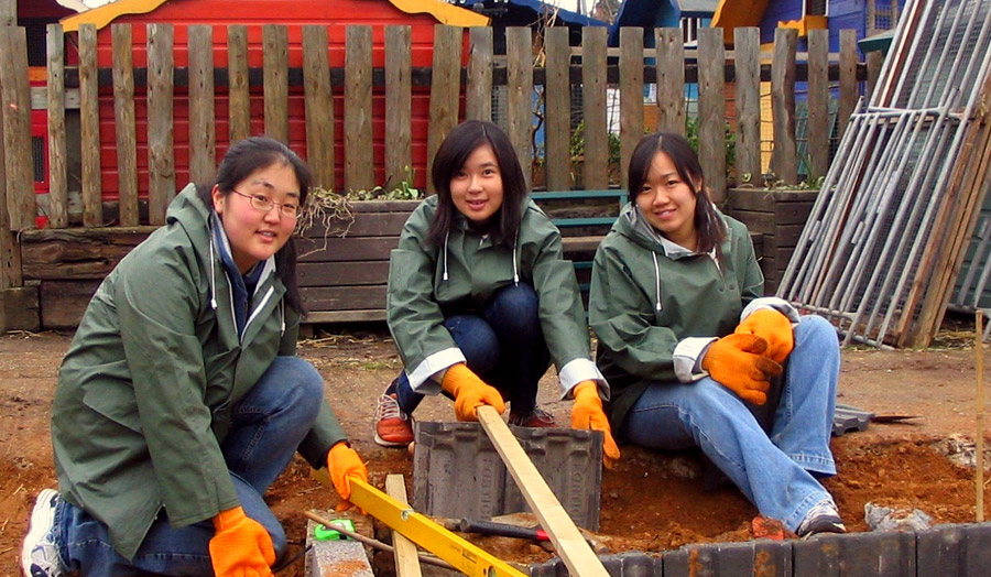 Three student volunteers working at a farm, organised through Reach