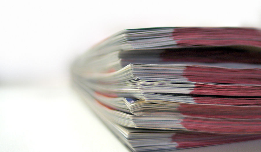 close up of a pile of documents