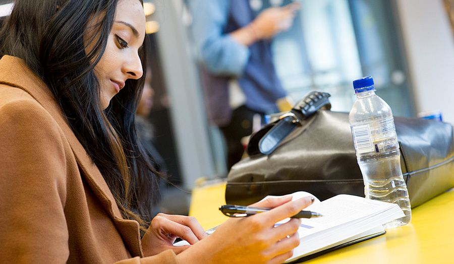 A female student writing