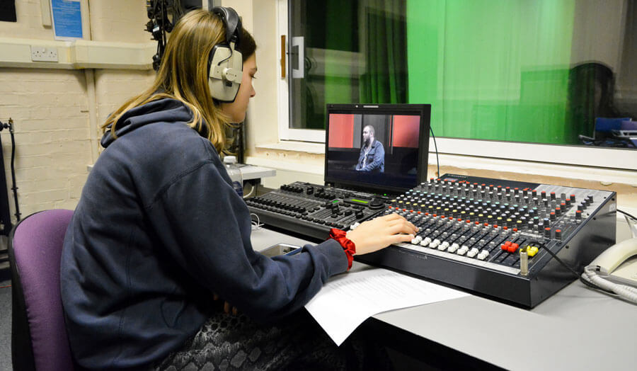 Female student in production studio