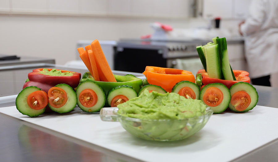 Colourful vegetables styled as a train to promote healthy eating