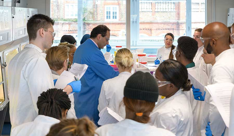 students in the lab watch their tutor demonstrating the experiment